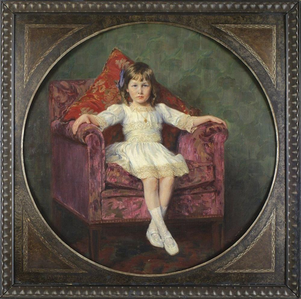 """Hermann Kauffmann [1873-1953] Portret dziewczynki, 1914 r. 120,5x 120,5 cm (bez ramy); 133,5x133,5 cm (z ramą) olej na płótnie, sygn. p.d. """"Herm Kauffmann jun. 1914"""" Żródło: www.artykwariat.pl"""