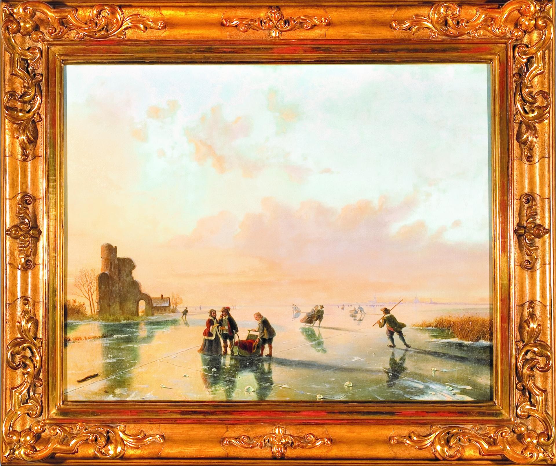 Nicolaas Johannes ROOSENBOOM [ 1805-1880] Na lodzie, olej na płótnie, 63 x 80 cm, obraz z kolekcji Artykwariatu