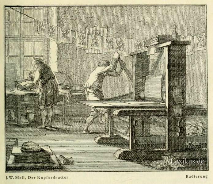 """J.W. Meil, """"Der Kupferdrucker"""" Źródło: lexikus.de"""