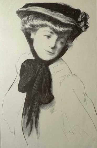 Marino M. LUSY [1880 -1953] Portret kobiety w kapeluszu  litografia na oryginalnym papierze japońskim Kolekcja Galerii ARTYKWARIAT