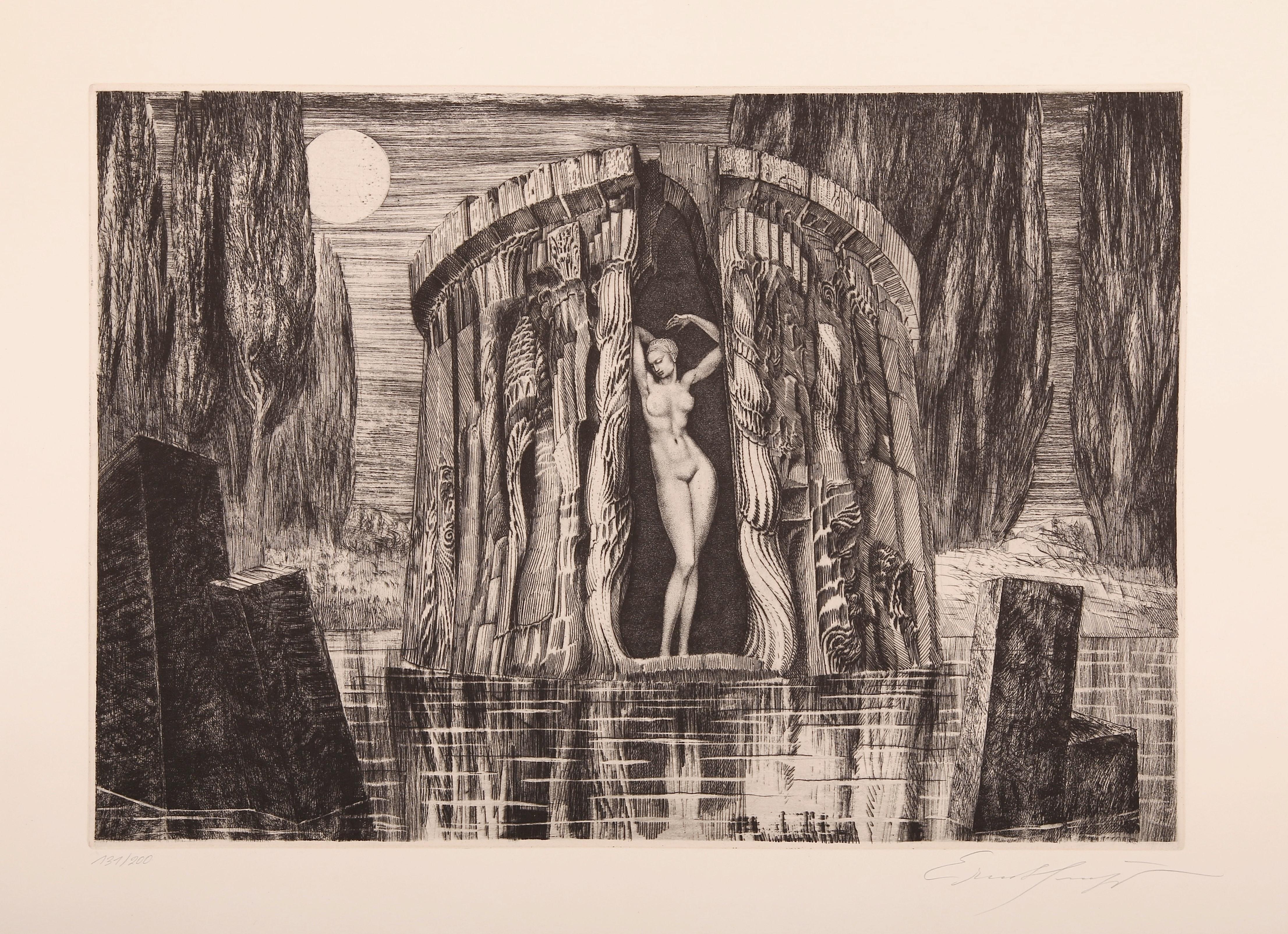 "Ernst Fuchs (Wiedeń 1930-2015), Narodziny Wenus akwaforta na papierze sygn. p.d. ""Ernst Fuchs"", l.d. ""131/200"" Kolekcja Galerii ARTYKWARIAT"