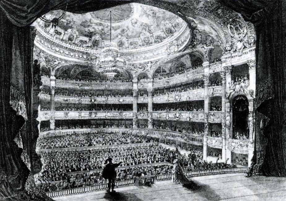 Wnętrze Opery Garnier, drzeworyt,  XIX w., źródło:  snazzie-designz.deviantart.com