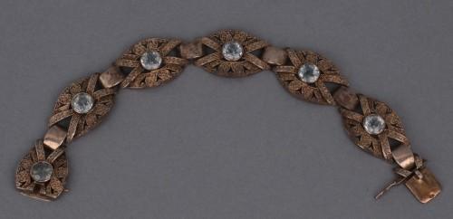 Bransoletka, Niemcy, Pforzheim, lata 20. XX w. Theodor Fahrner srebro pr. 925 (pr. wybita na zamku) złocone 6 x spinel syntetyczny