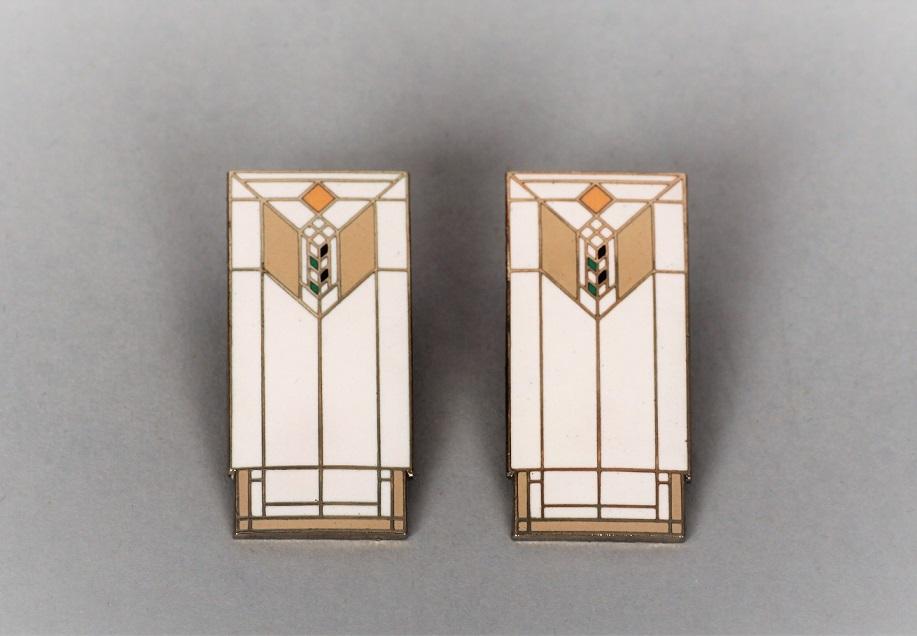 1. Kolczyki w stylistyce Art deco, XX w., proj. Frank Lloyd Wright ACME STUDIO metal/emalia
